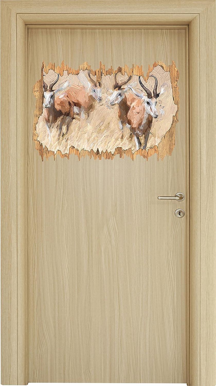 Les animaux en bois percée effet brosse savane en apparence 3D, la taille de la vignette mur ou de porte: 62x42cm, stickers muraux, sticker mural, décoration murale Stil.Zeit