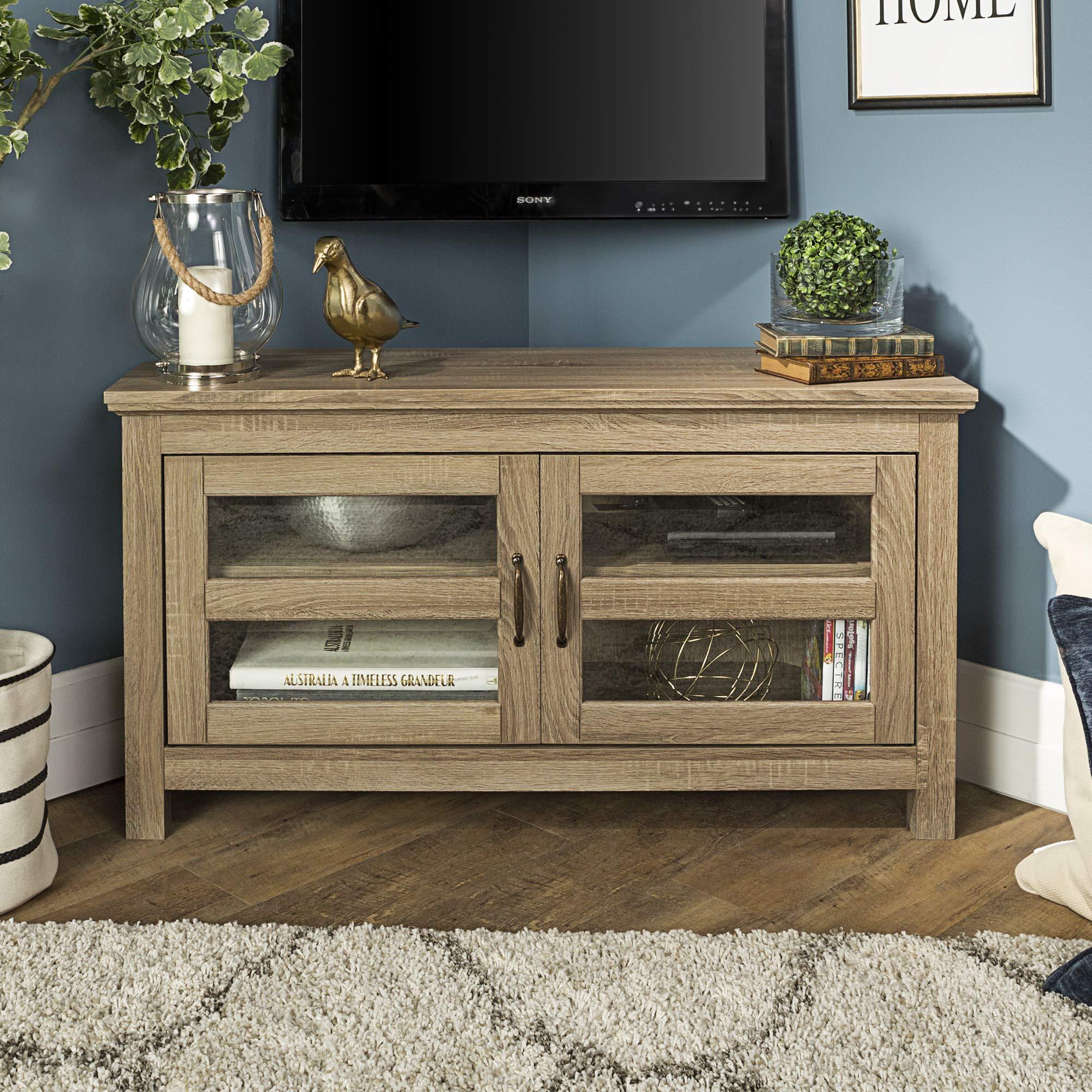 WE Furniture AZ44CCRAG-P 2 Door Cabinet Corner Wood Stand for TV's up to 48'' Living Room Storage, 44'', Grey/Brown by WE Furniture