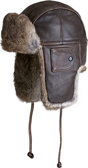 de3f48eeb7d48 Vintage Leather Aviator Hat with Rabbit Fur Trim at Amazon Women s ...