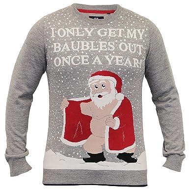 97300db47 Threadbare Adults Christmas Festive Jumpers Rude Santa - Gravel Marl Grey -  Medium