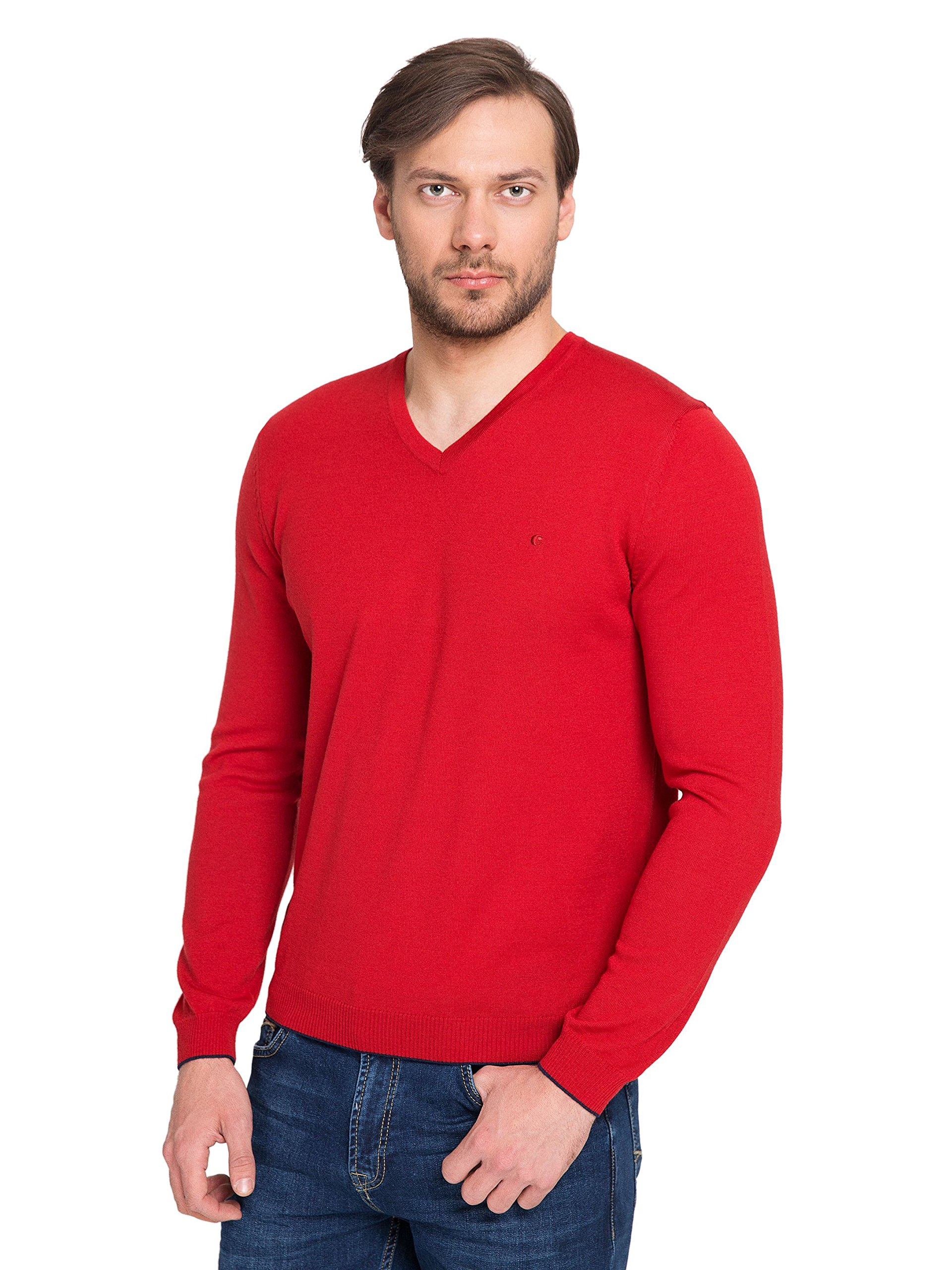 Cacharel Men's 100% Merino Wool (Extra Fine Wool), V Neck, Long Sleeve, Slim Fit Sweater (Red)