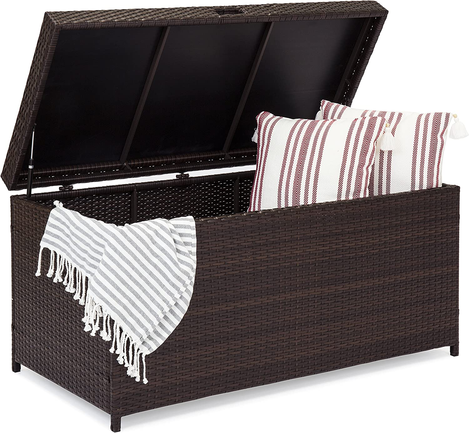 Best Choice Products Outdoor Wicker Patio Furniture Deck Storage Box for Cushions, Pillows, Pool Accessories
