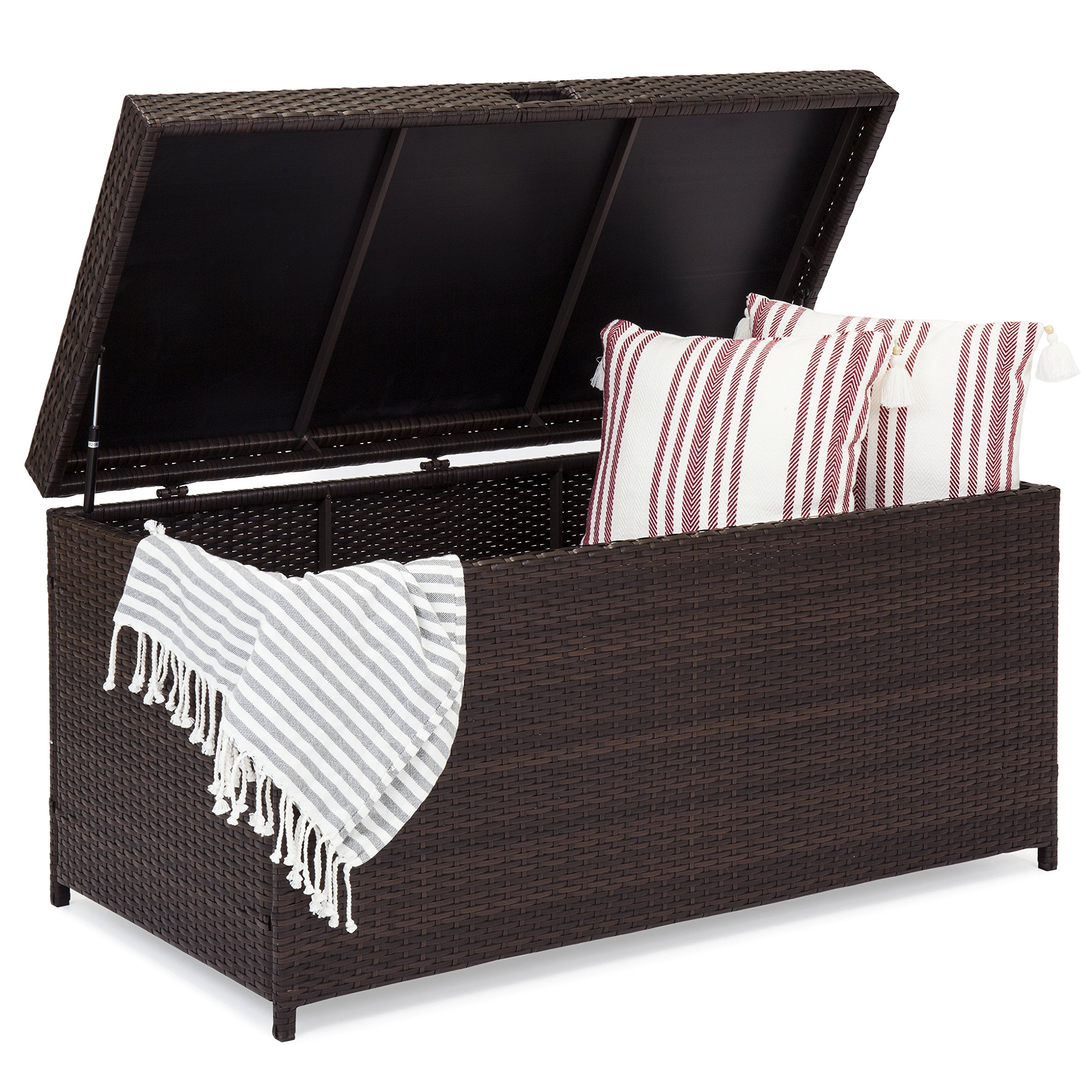 Best Choice Products Outdoor Wicker Patio Furniture Deck Storage Box w/Safety Pneumatic Hinges and Deep Bed for Cushions, Pillows, and Pool Accessories, Brown