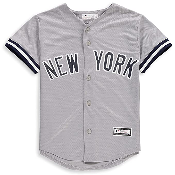differently 93d3a 308ad New York Yankees Blank Gray Youth Cool Base Road Jersey