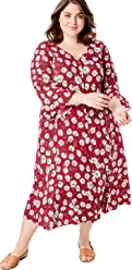 18530bb7177 Woman Within Women s Plus Size Button Front Ruffle Sleeve V-Neck Dress