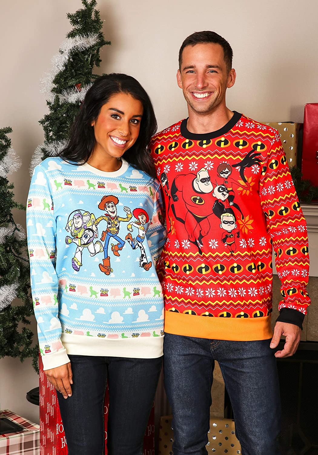 Toy Story Light Blue Ugly Christmas Sweater for Adults X