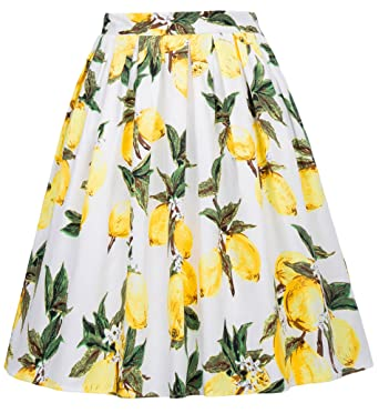 4d4c479237 GRACE KARIN 50s Vintage Floral A-Line Pleated Skirt Swing Full ...