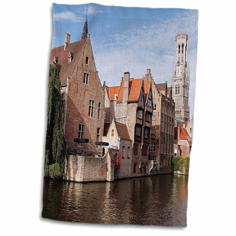 3D Rose Belgium-Bruges-Rozenhoedkaai View of Canals-Eu04 Kwi0011-Kymri Wilt Towel 15 x 22