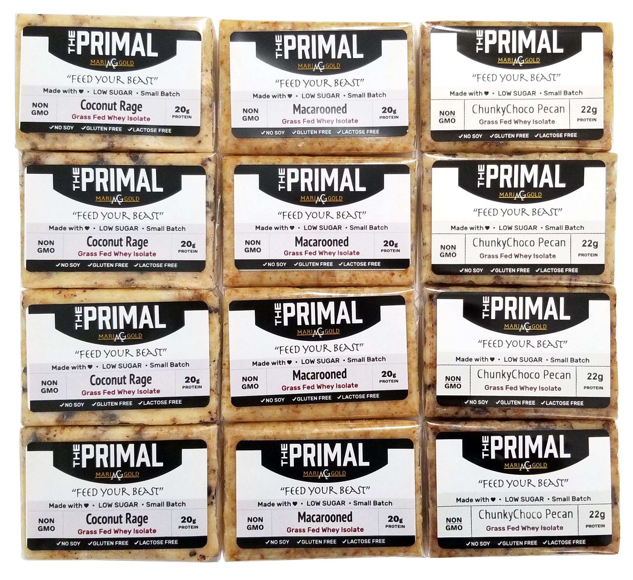 #1 PALEO Friendly - PRIMAL Protein Bars by MariGold–Sampler Pack (Mix #3: Coconut Rage, Macarooned, ChunkyChoco Pecan (4 each))