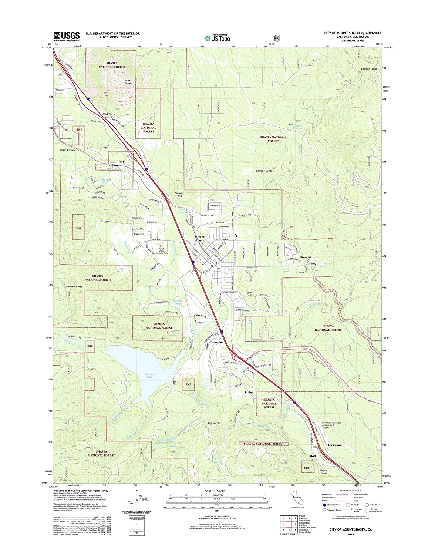 Amazon Com Topographic Map Poster City Of Mount Shasta Ca Tnm