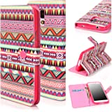 S5 Case, Galaxy S5, E LV Samsung Galaxy S5 Flip Case - E LV Deluxe PU Leather Folio Wallet Case Cover with magnetic closure for Samsung Galaxy S5 (i9600) - PINK TRIBAL