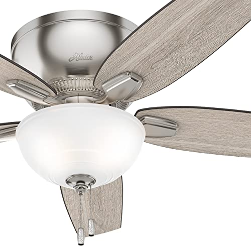 Hunter 52 inch Low Profile Ceiling Fan with LED Light Kit, Brushed Nickel Renewed