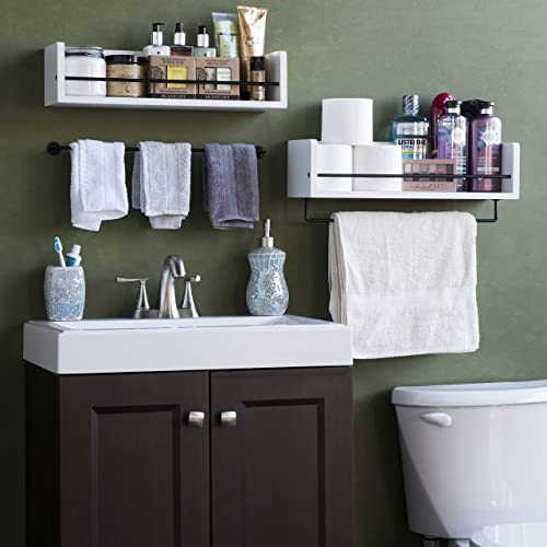 Rustic State William Wall Mount Bathroom Shelf Solid Wood with Rail White