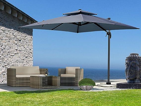QUICK STAR Mallorca - Sombrilla (3 x 3 m, protección UV 50), Color Gris: Amazon.es: Jardín