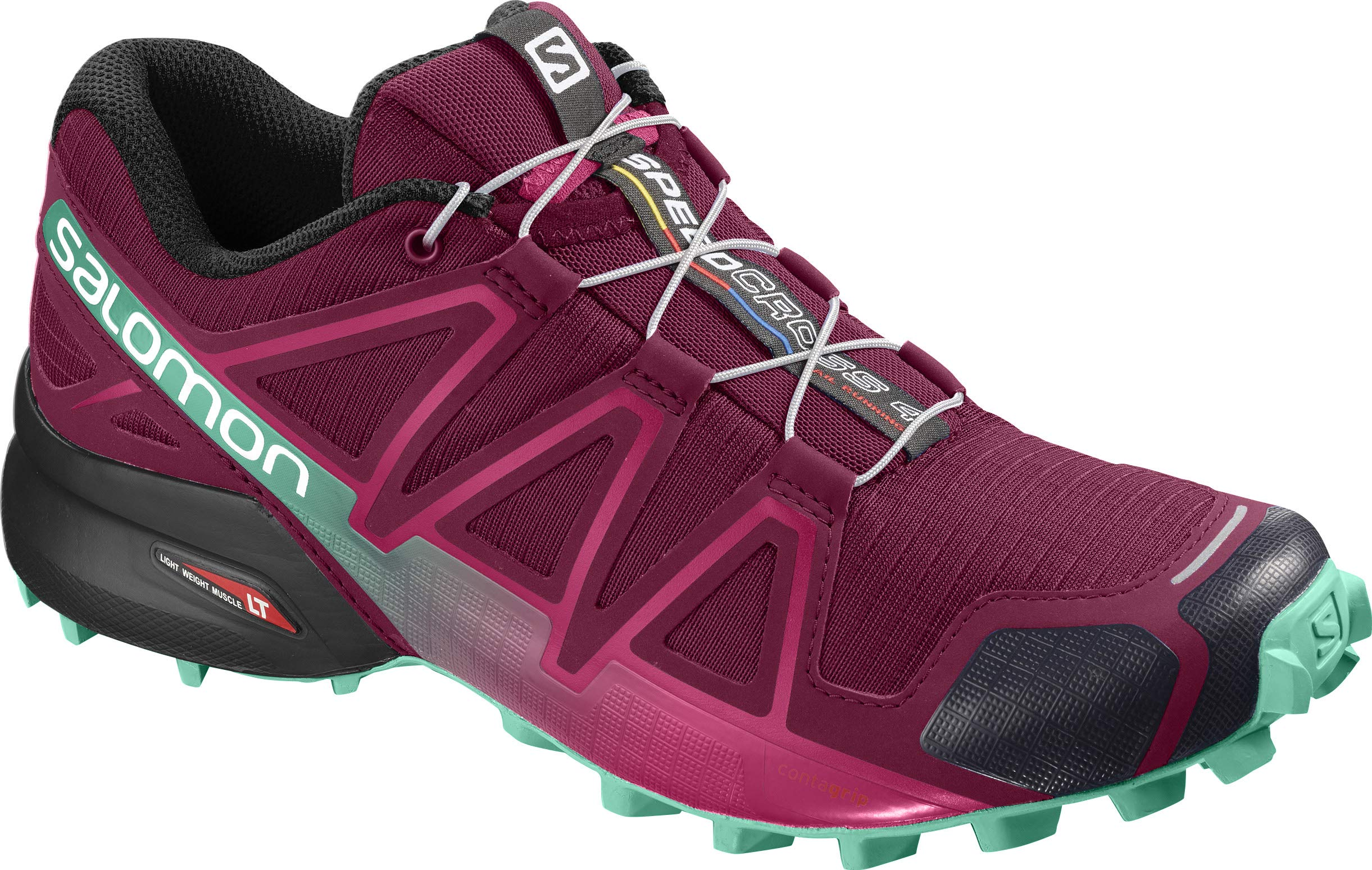 Salomon Women's Speedcross 4 W Trail Running Shoe Beet red/Electric Green/Black 5.5 Standard US Width US by Salomon (Image #1)