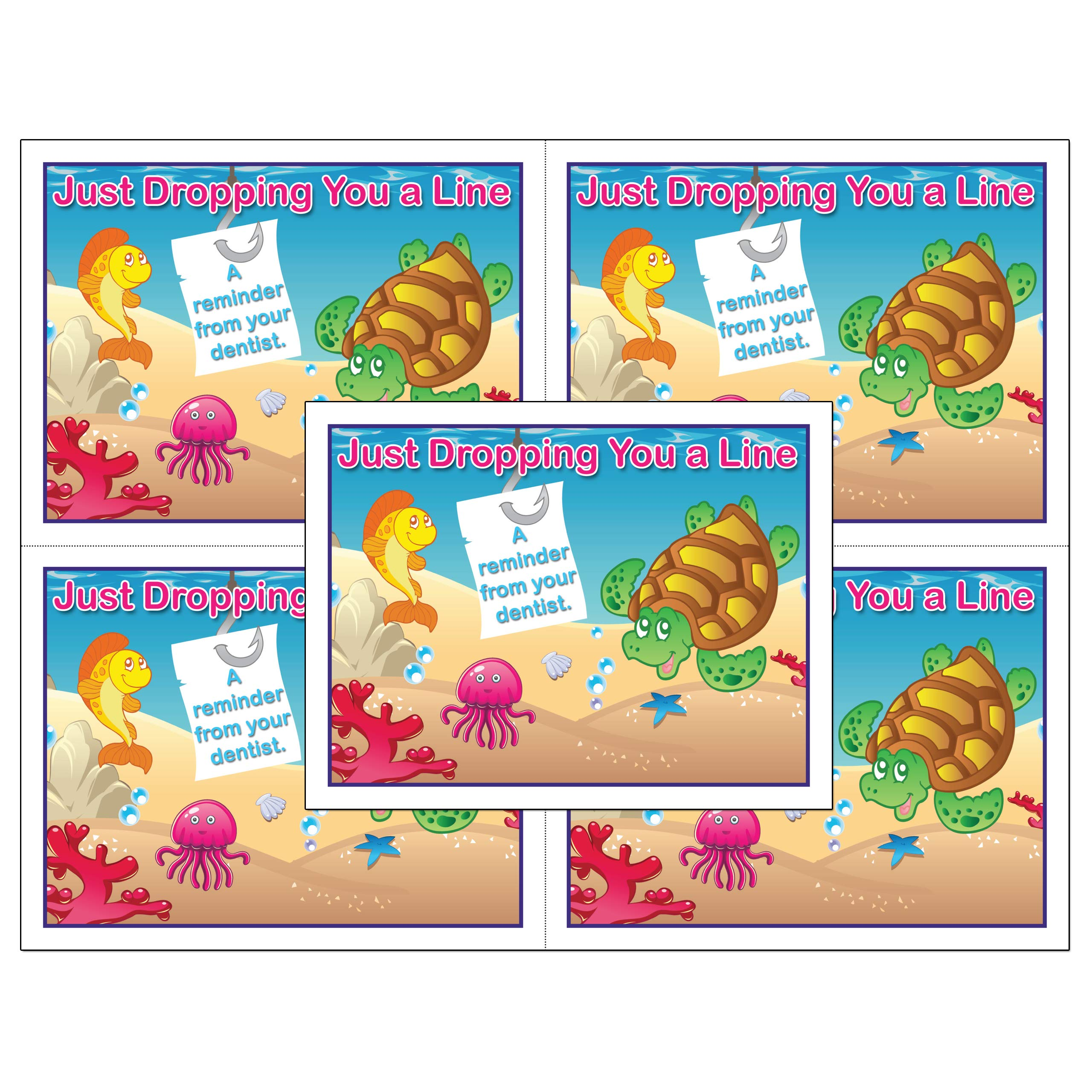 Laser Reminder Postcards, Dental Appointment Reminder Postcards. 4 Cards Perforated for Tear-off at 4.25'' x 5.5'' on an 8.5'' x 11'' Sheet of 8 Pt Card Stock. (500)