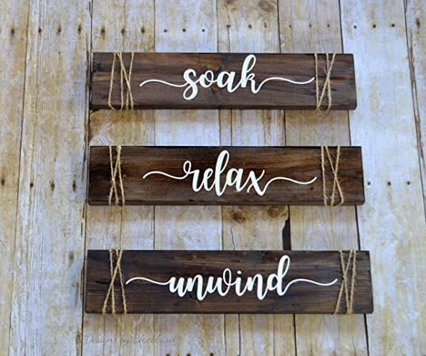 Amazon Com Soak Relax Unwind Signs Bathroom Decor Rustic