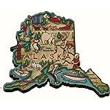 Alaska State Decowood Jumbo Wood Fridge Magnet 3.5
