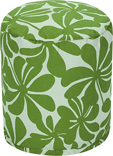 Majestic Home Goods Sage Plantation Indoor/Outdoor Bean Bag Ottoman Pouf 16″ L x 16″ W x 17″ H