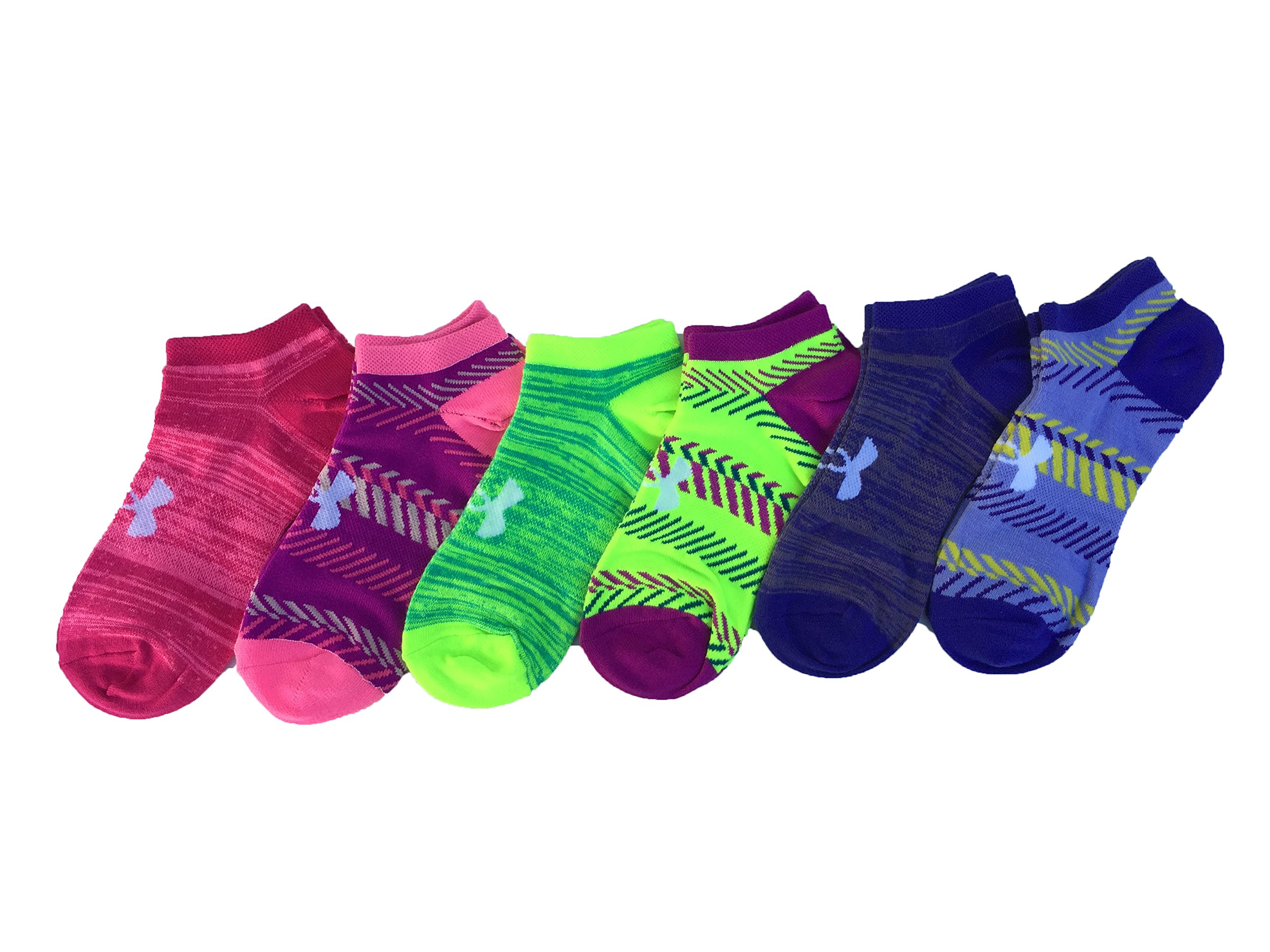 Under Armour Women`s Big Logo No-Show Socks (6 Pack) (Heather (1259396-123) / Pattern/Assorted, Medium)