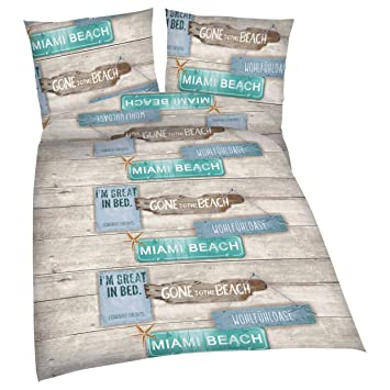 Bettwäsche Baumwolle 135x200 80x80 Reißverschluss Beach House