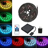 LED SMD 5050 Waterproof 6.5ft 60leds 5V RGB Color Changing Flexible Rope Strip TV Backlight Lights with RF Wireless Remote controller +5V 2A US Plug +USB Battery Powered box +USB cable