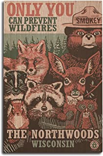 product image for Lantern Press Northwoods, Wisconsin - Smokey Bear and Woodland Creatures 98509 (10x15 Wood Wall Sign, Wall Decor Ready to Hang)