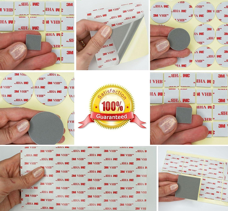 Gris doble cara 3M VHB Almohadillas de acrílico ~ 1.1mm de grosor ~ resistente a la intemperie VHB Heavy Duty cinta ~ varios tamaños: Mini, pequeño o XL ~ cuadrados o círculos Simply the Best