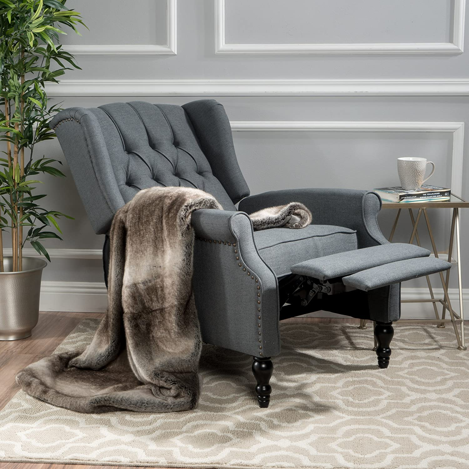 Christopher Knight Home Walter Fabric Recliner, Charcoal