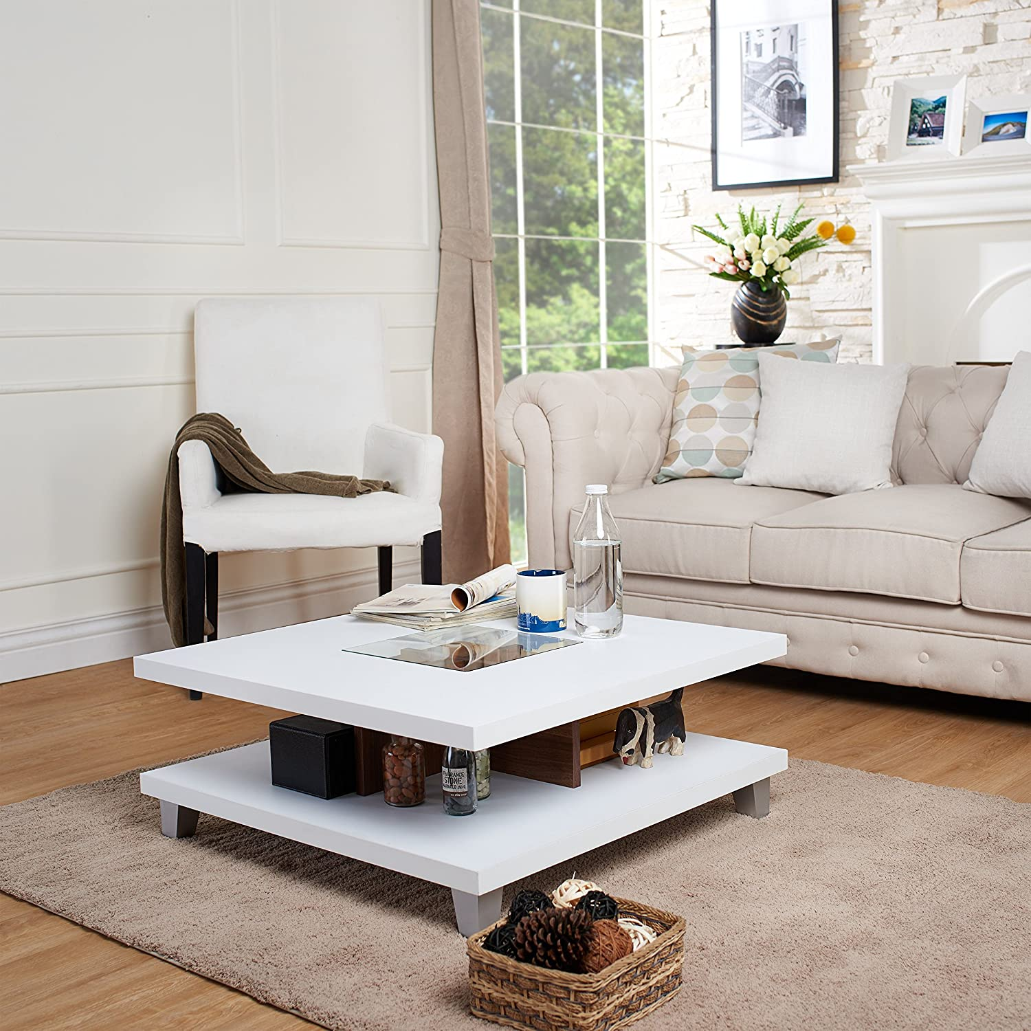 Amazoncom ioHOMES Lendon Square Coffee Table White Kitchen Dining