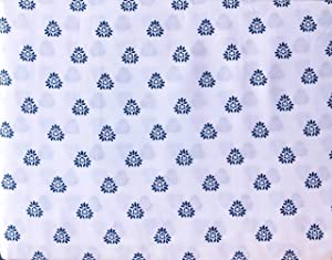 Artisan NY 4 Piece Sheet Set Small Floating Leaf Medallions Navy Blue on White (Full)
