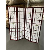 4 Panel Room Divider Coaster Oriental Floral - Cherry