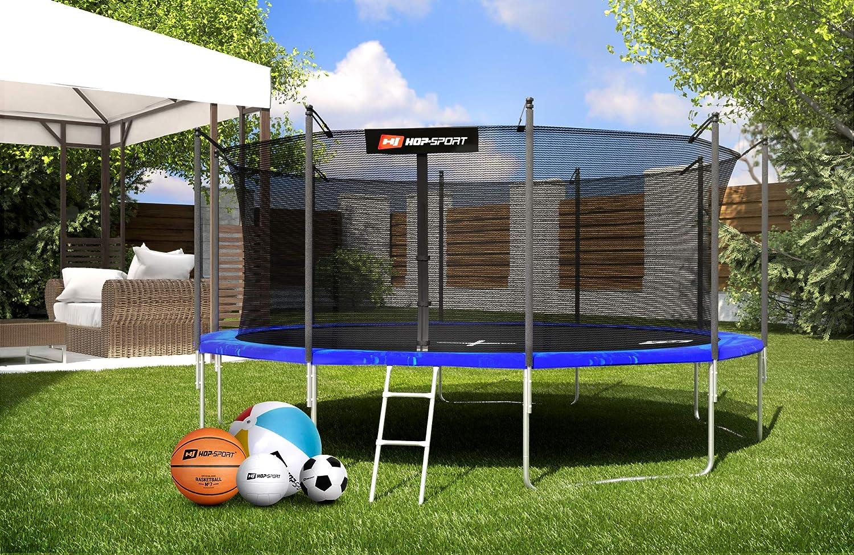 Hop-Sport Gartentrampolin Outdoor Trampolin 244 366 490 cm Komplettset inkl Innennetz Leiter Wetterplane Bodenhaken 430 305
