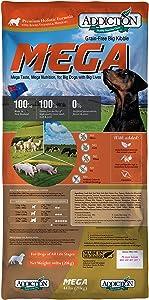 Addiction Grain Free Dry Dog Food Formulas Large Breed, Mega