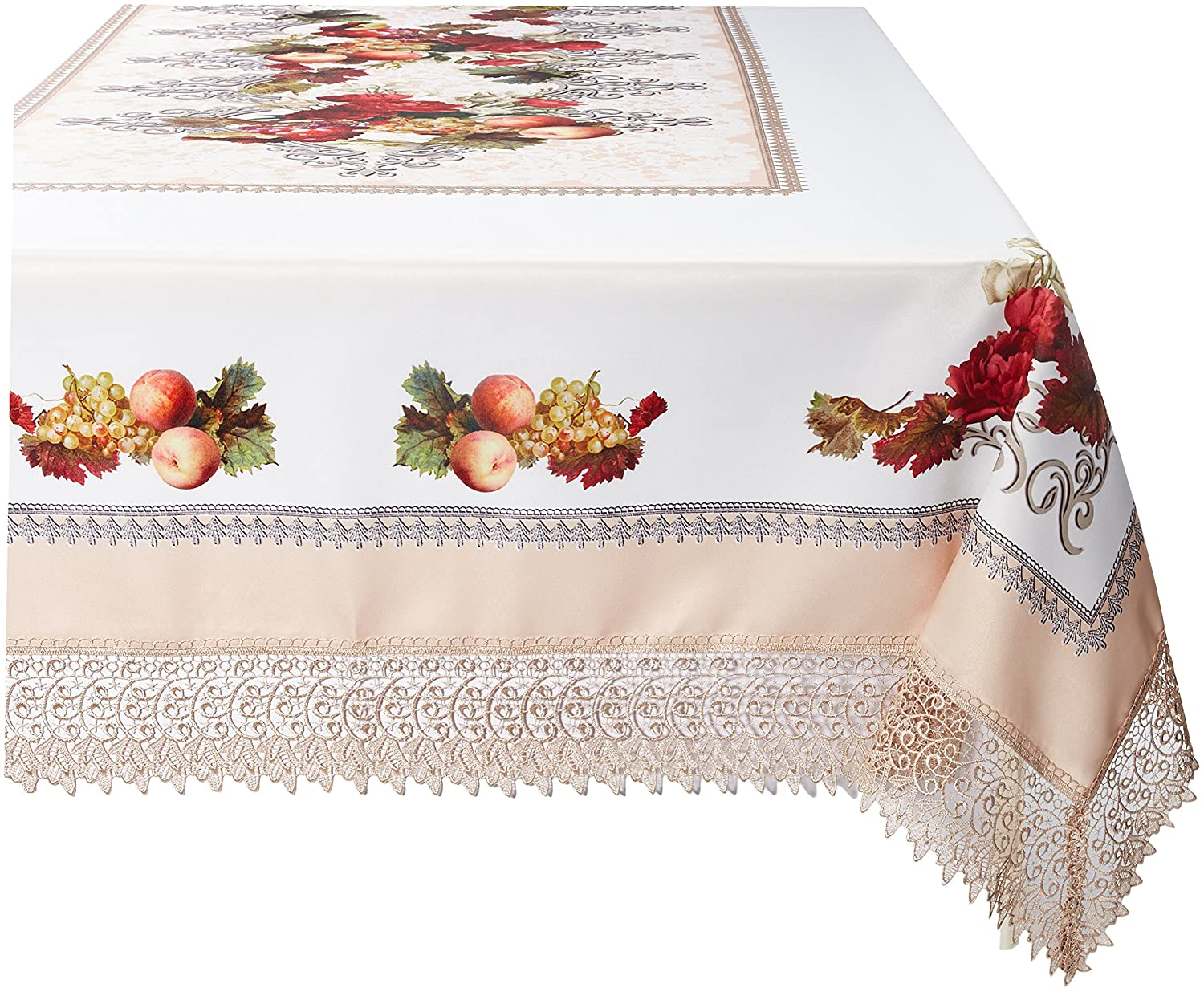 Ivory 52  x 70  purple Linen Decorative Printed Fruttela Tablecloth With Lace Trimming, Burgundy, 70  x 120