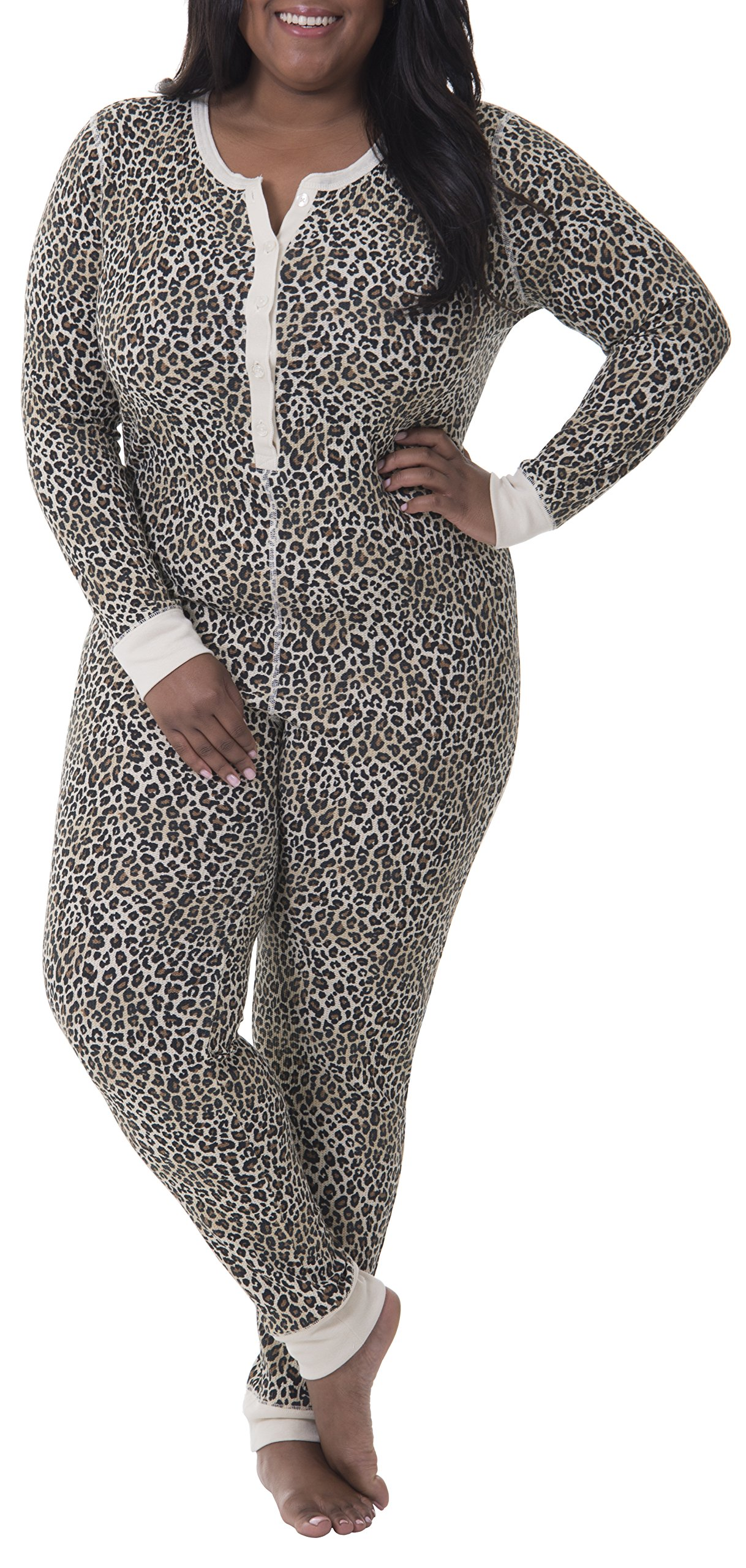 Fruit of the Loom Women's Plus Size Fit for Me Waffle Thermal Union Suit, Natural Animal Print, 3X