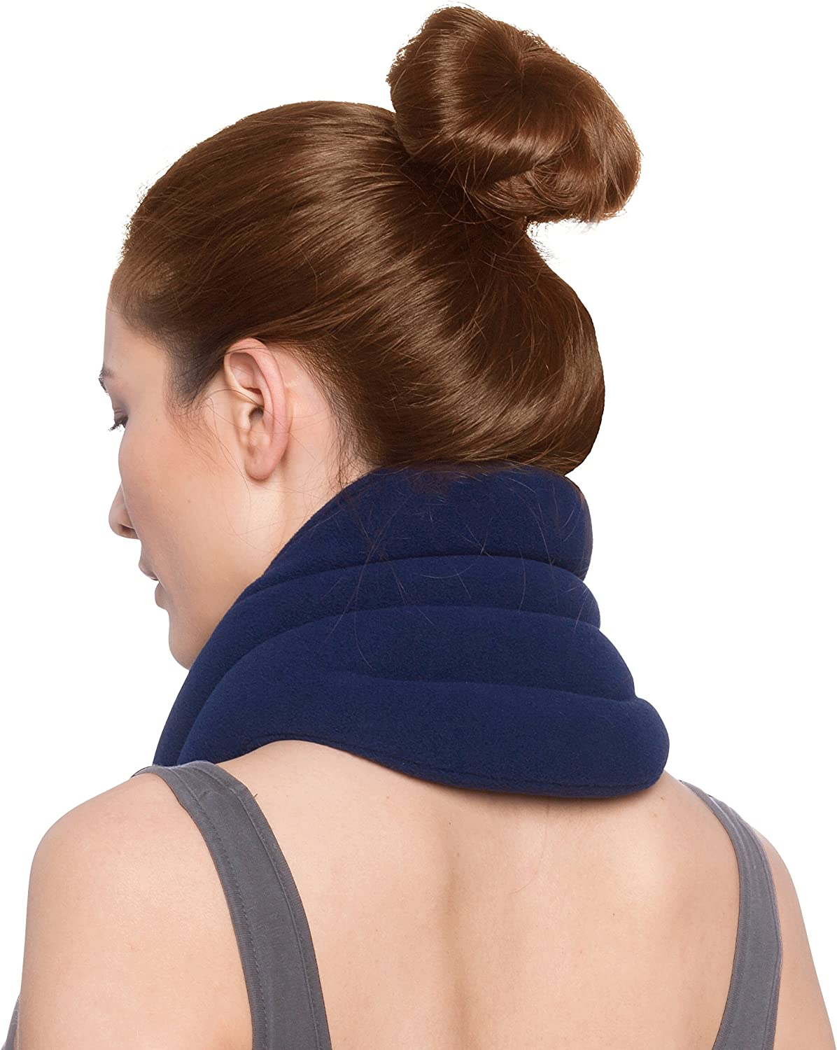 Sunny Bay Hands-Free Neck Heating Wrap: Microwavable Thermal Hot Pack, Heat Therapy Neck Brace for Sore Neck & Shoulder Muscle Pain Relief - Personal, Reusable, Blue