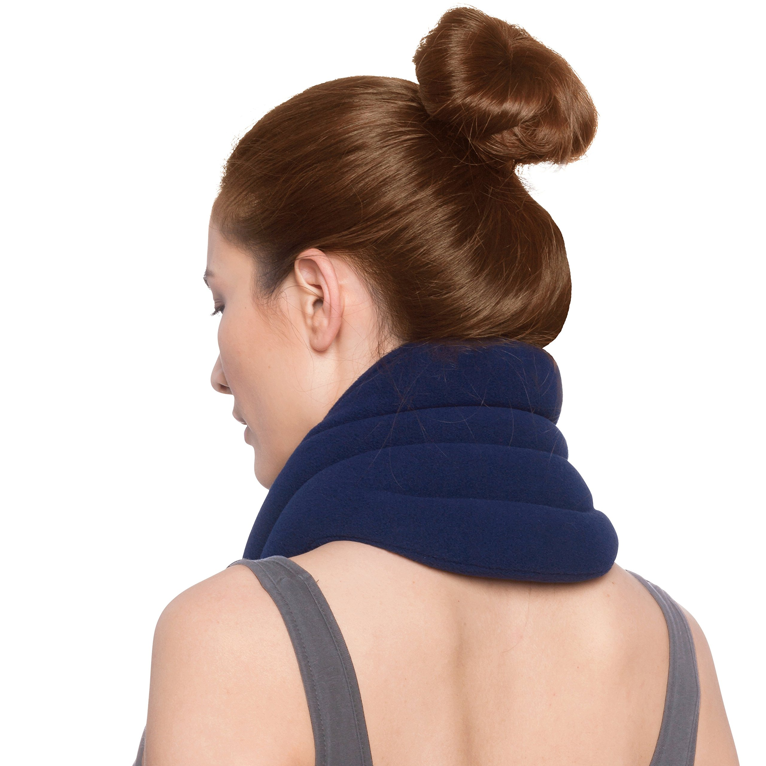 Sunny Bay Hands-Free Neck Heating Wrap: Microwavable Thermal Hot Pack, Heat Therapy Neck Brace for Sore Neck & Shoulder Muscle Pain Relief - Personal, Reusable, Blue by Sunny Bay