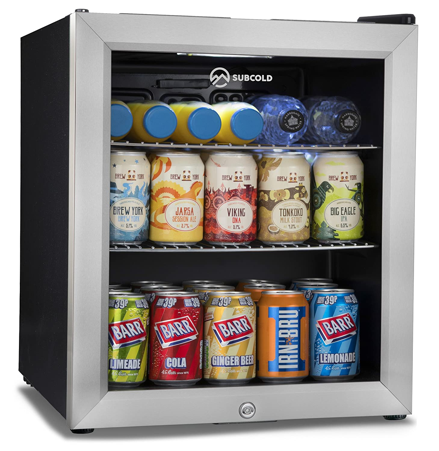 Subcold Super50 LED – Mini Fridge Black | 49L Beer, Wine and Drinks Fridge | LED Light + Lock and Key | Low Energy A+ (Stainless Steel) [Energy Class A+] SUPER50LED-BL