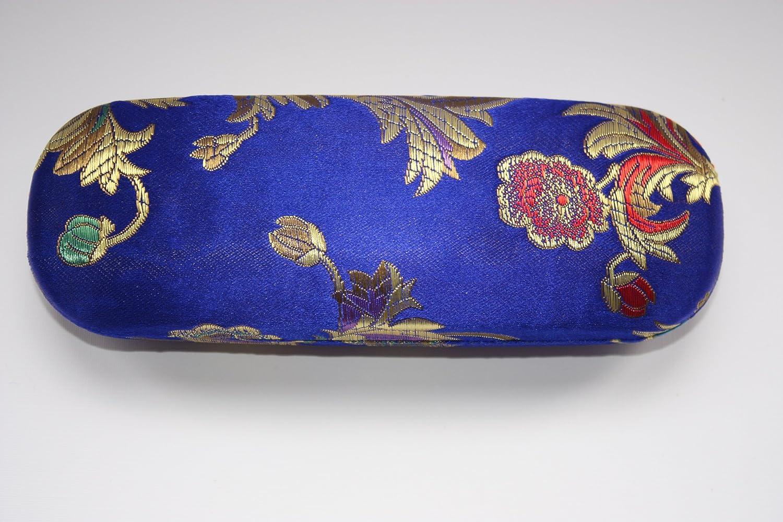 Brillenetui mit dekorativer Seidenstickerei, buntes und goldfarbenes Blumenmuster, Farbe: Electric Blue OFA Products