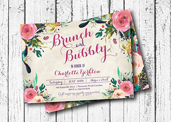 brunch bubbly bridal shower invitation bridal shower gold flowers bright flower
