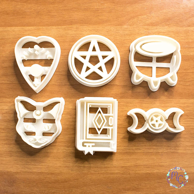 Witch Aesthethic set cortadores galletas con temática mágica brujas, molde adecuado para galletas, pasta de azúcar, decoración de pasteles, arcilla artesanal, fondant, fimo, tras pastas para modelar