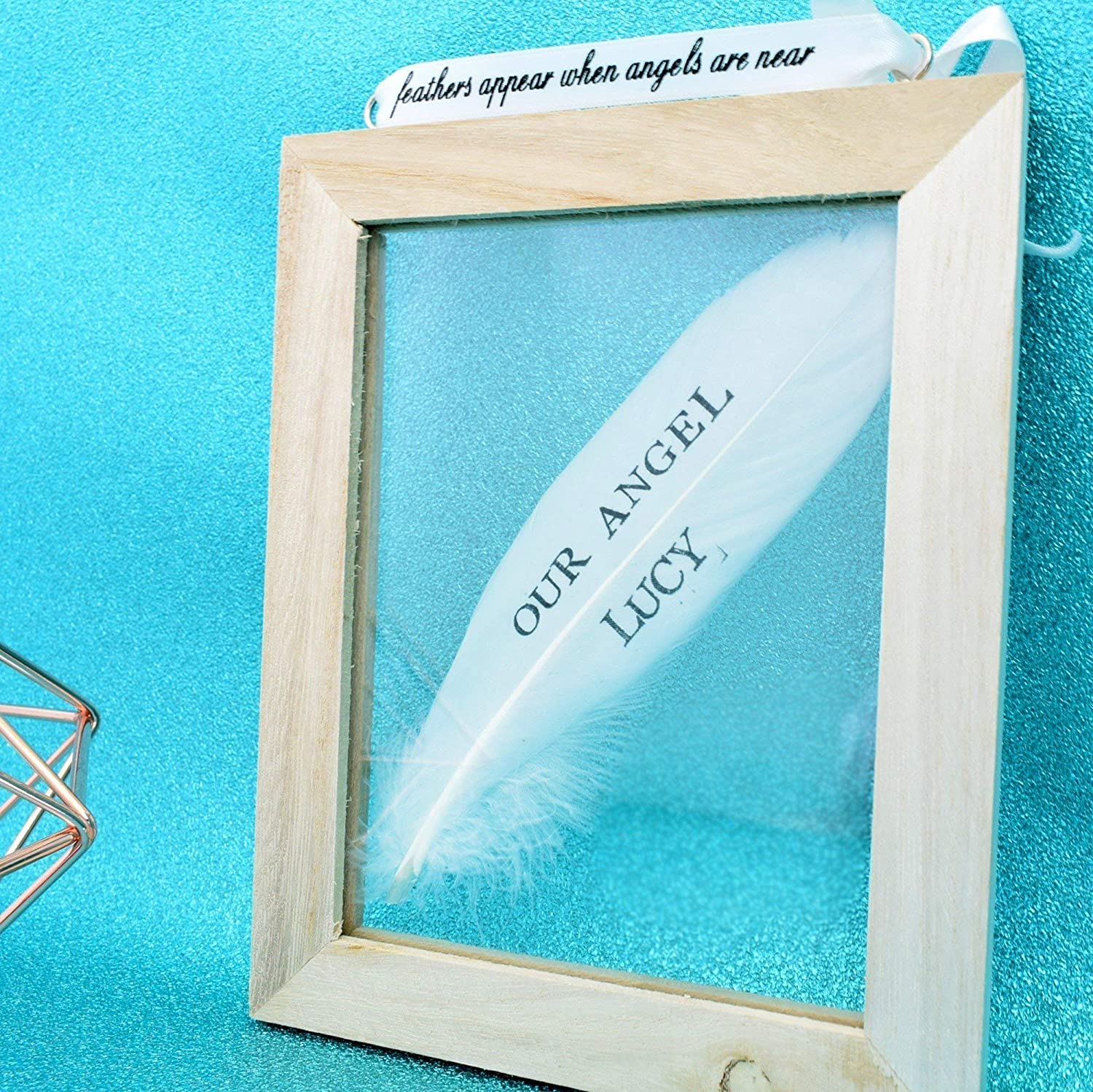 Personalised Any Name Message White Feather Frame Memorial Sympathy Remembrance Plaque Wood Glass