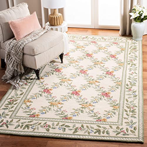 Safavieh Chelsea Collection HK60A Hand-Hooked Ivory Premium Wool Area Rug 8 9 x 11 9
