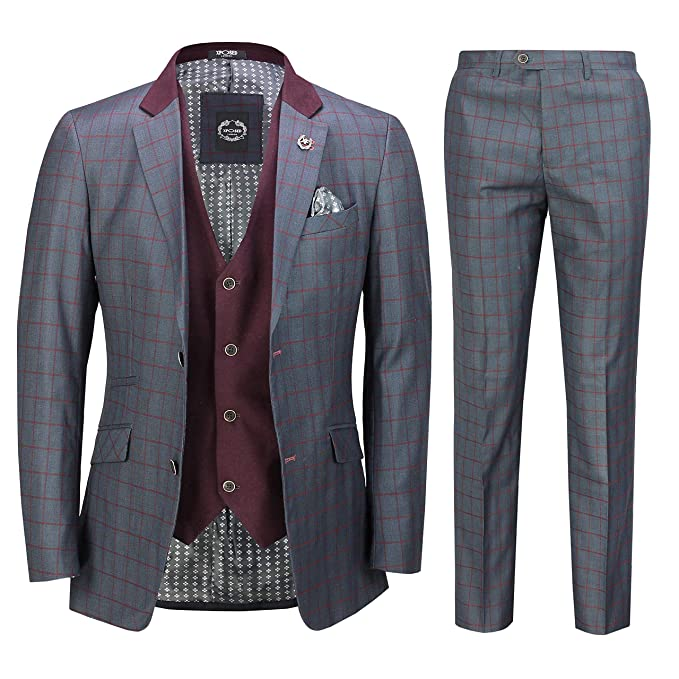 Amazon.com: Chaleco para hombre, 3 piezas, color gris, azul ...