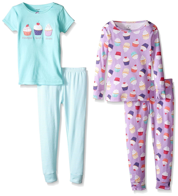Carters Little Girls 4 Piece Graphic Tee PJ Set Toddler//Kid