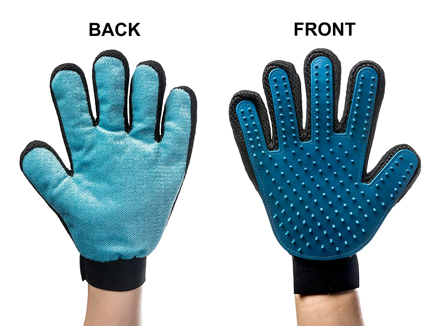 VlueVille 2-and-1 Pet Grooming Glove:Deshedding Tool + Furniture Pet Hair Remover Glove-for Dog & Cat- Deshedding Rubber Tips for Gentle Massage and Relax Your Pets