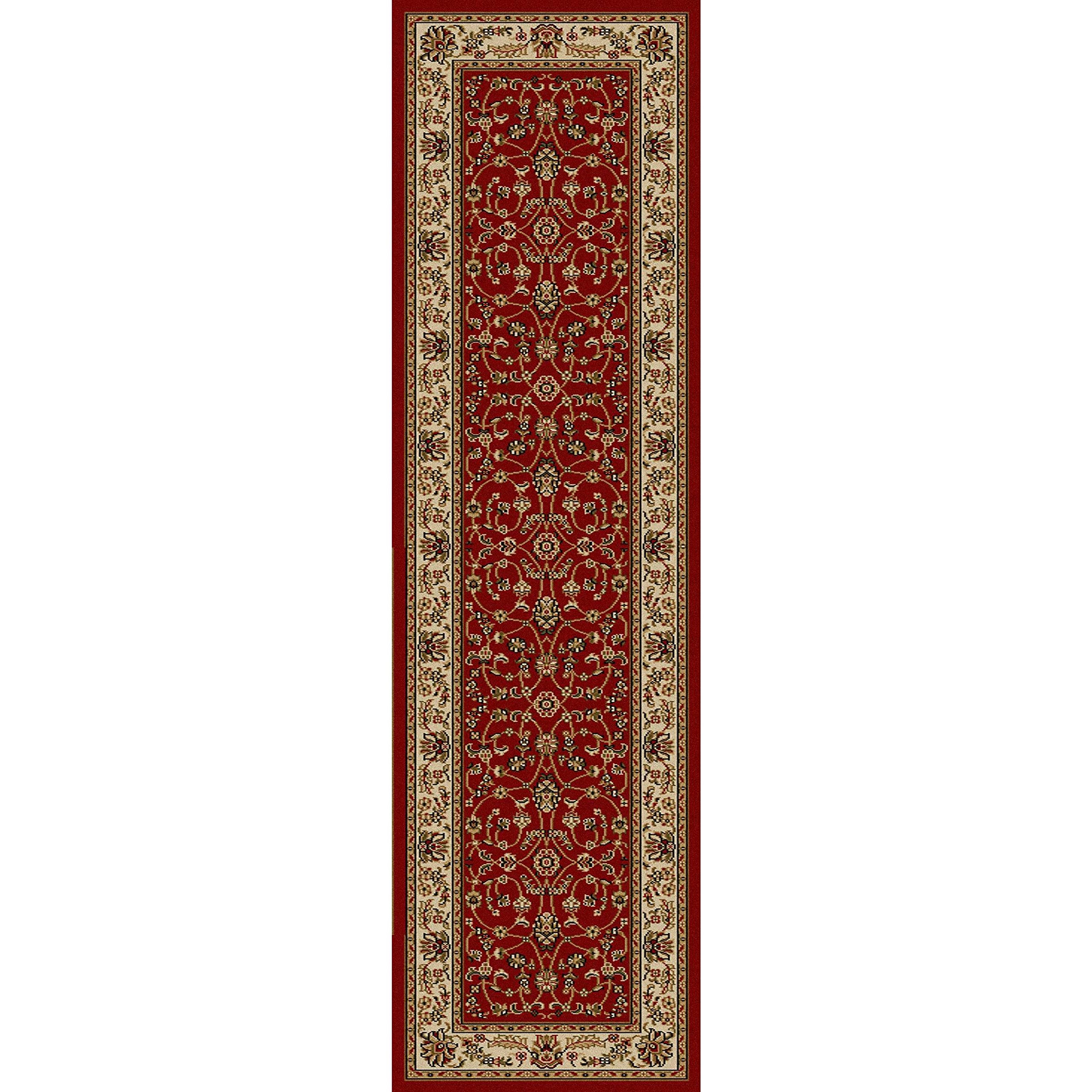 1 Piece 2'2'' x 7'7''ft Ivory Deep Red Orietnal Hallway Rug, Long Floral Carpet Entranceway French Country Classic Pattern Bordered Narrow Flooring Runner Style, Victorian Themed Royal Vintage, Olefin