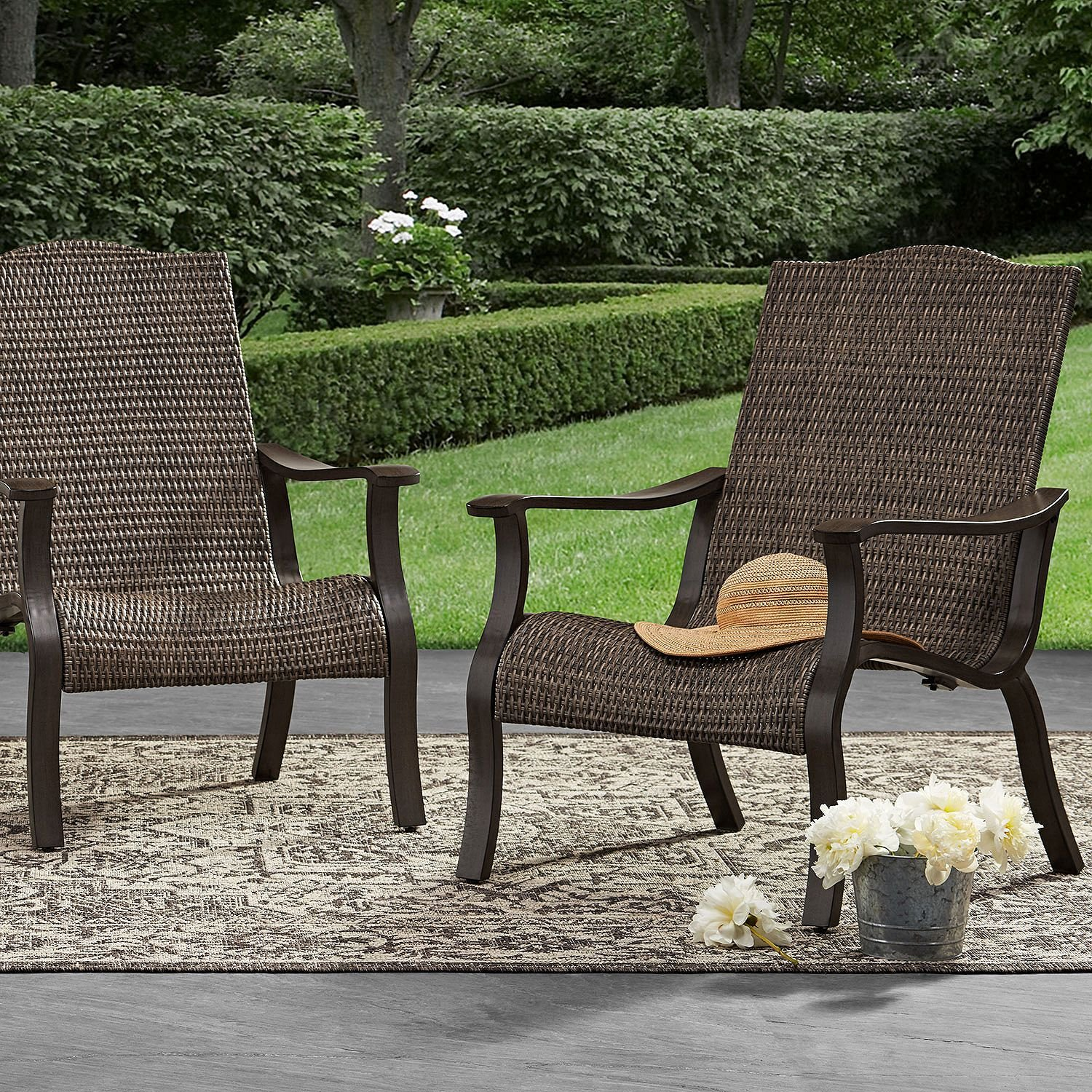 Amazon com members mark adirondack agio woven side chair lounges daybeds chairs 2 pack garden outdoor