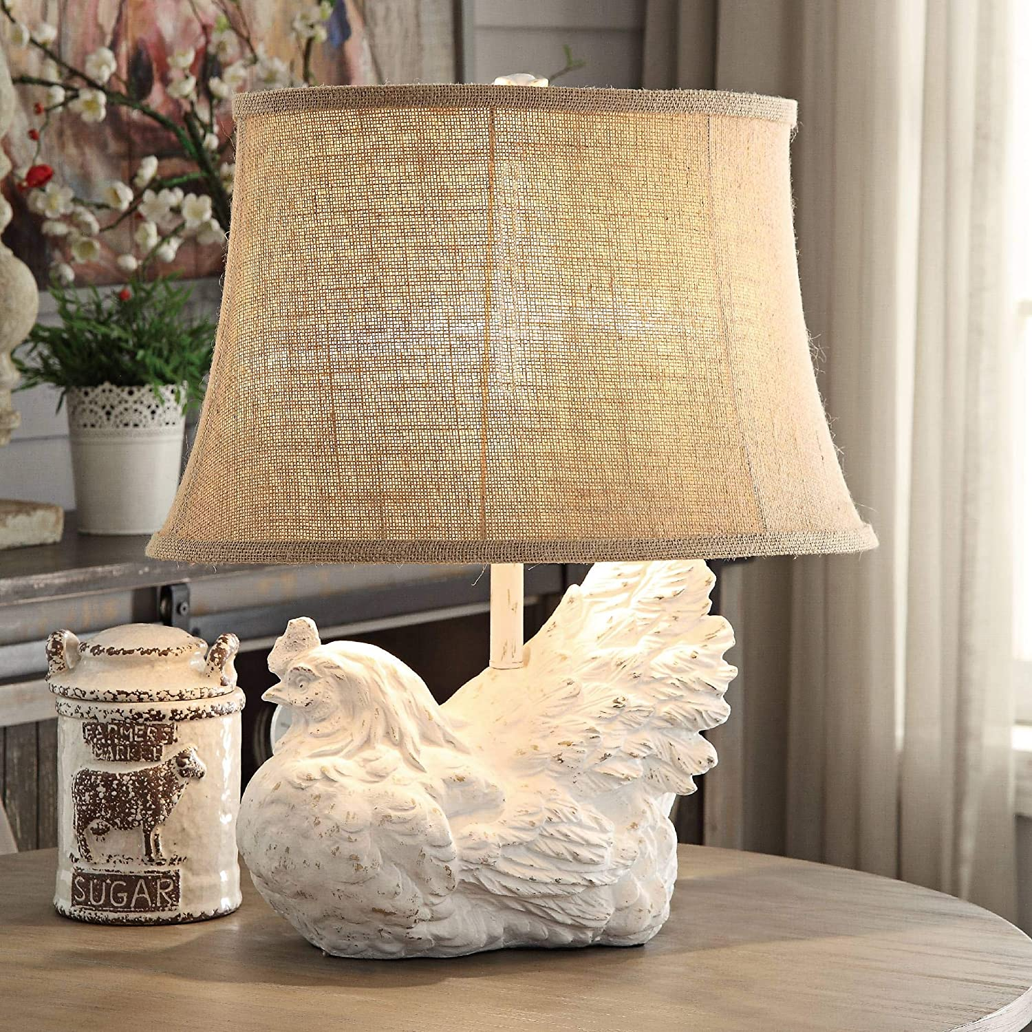 Crestview Collection Rooster White Wash Accent Table Lamp